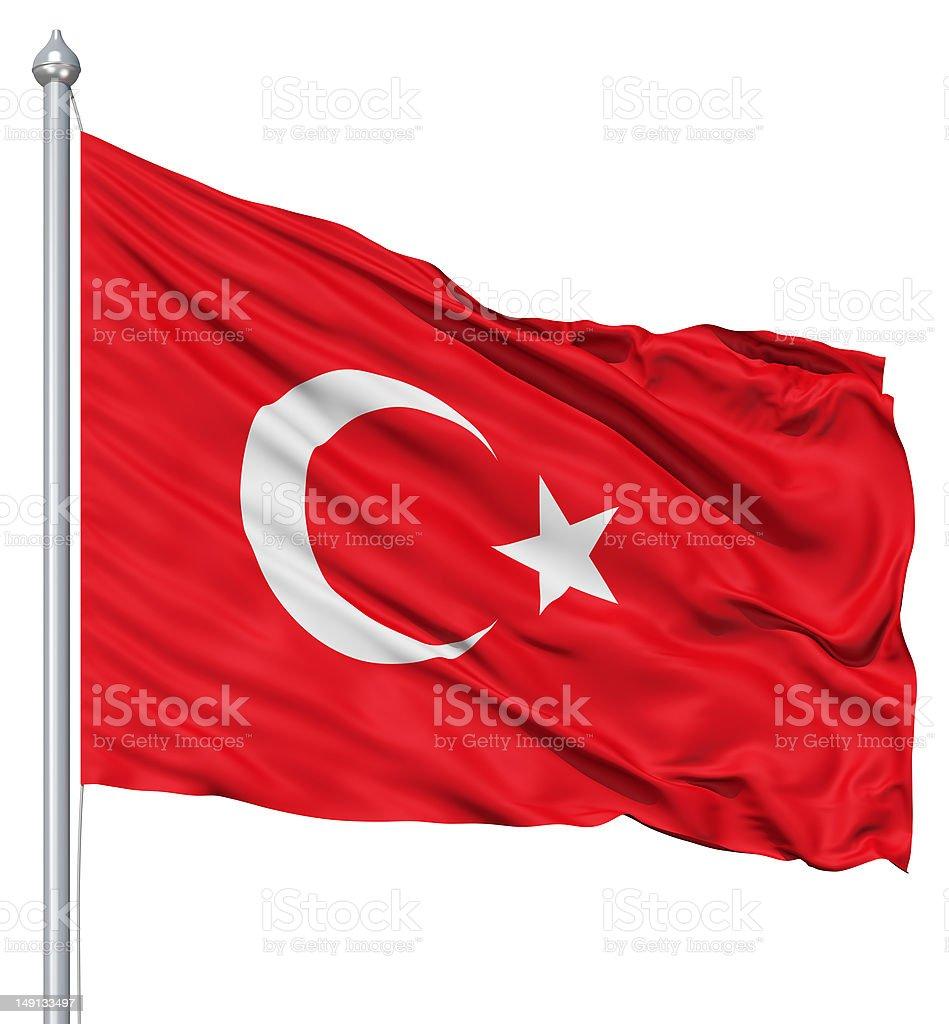 Waving flag of Turkey royalty-free stock photo