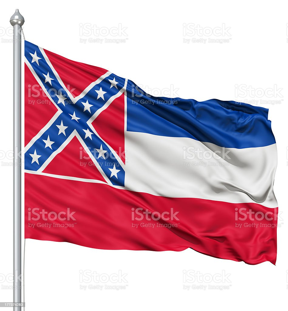 Waving Flag of USA state Mississippi royalty-free stock photo