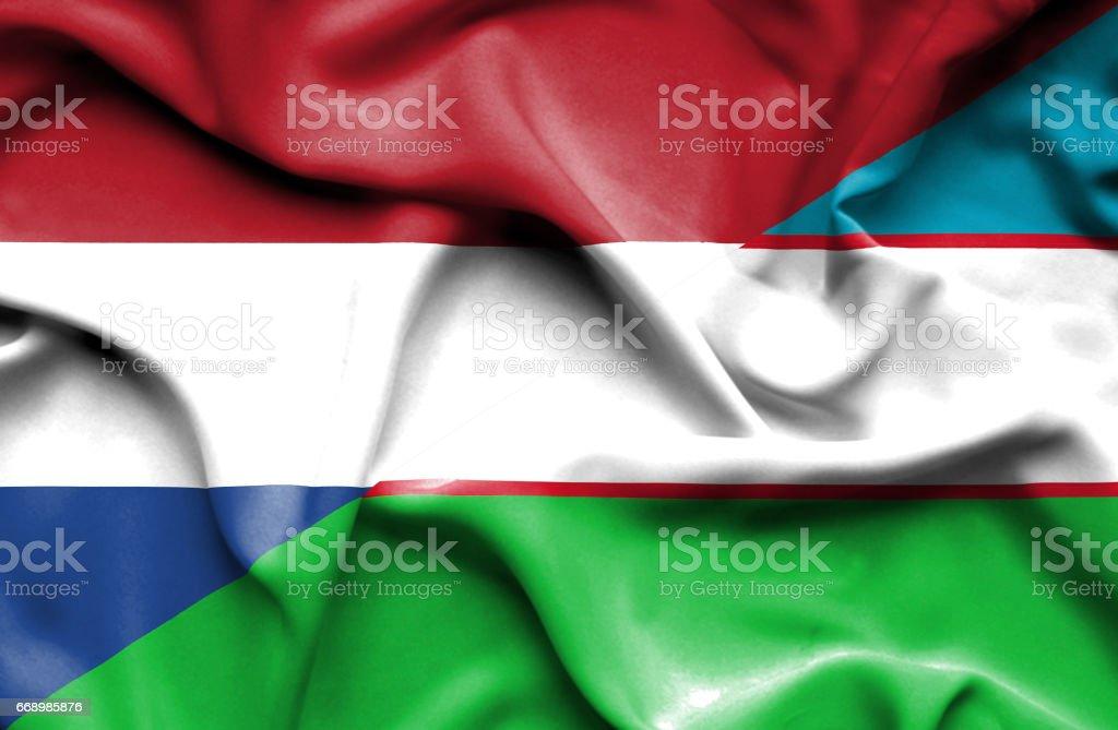 Waving flag of Uzbekistan and Netherlands stock photo