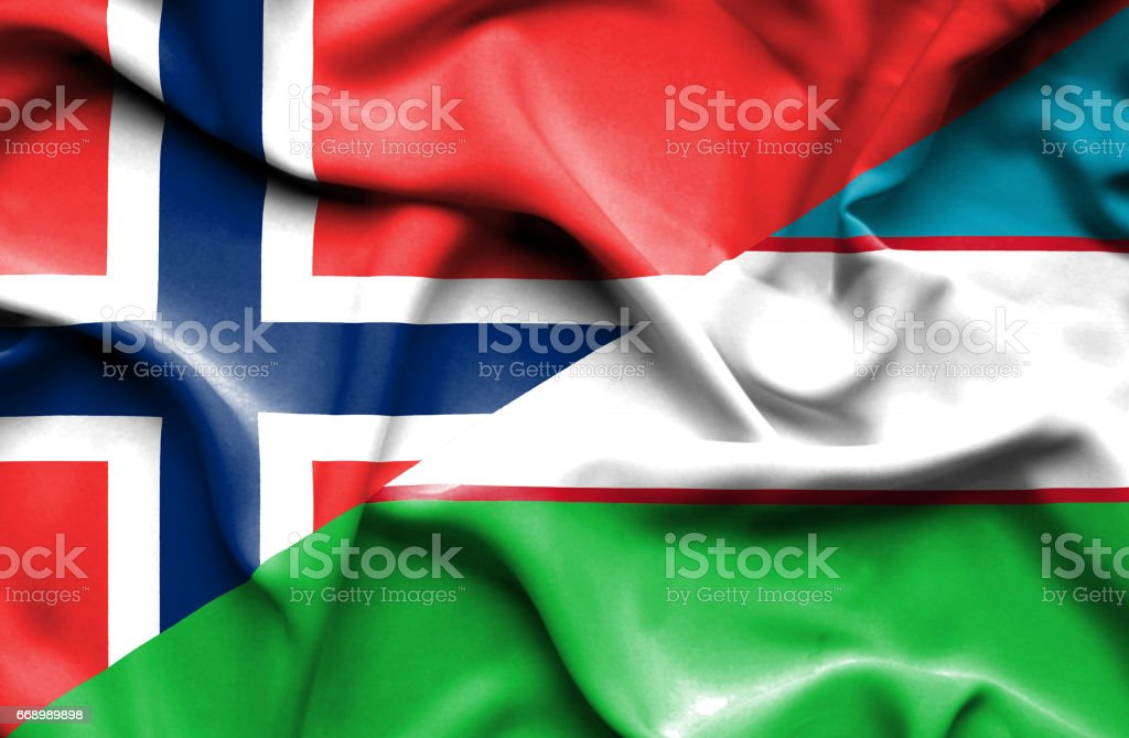 Waving flag of Uzbekistan and Norway stock photo