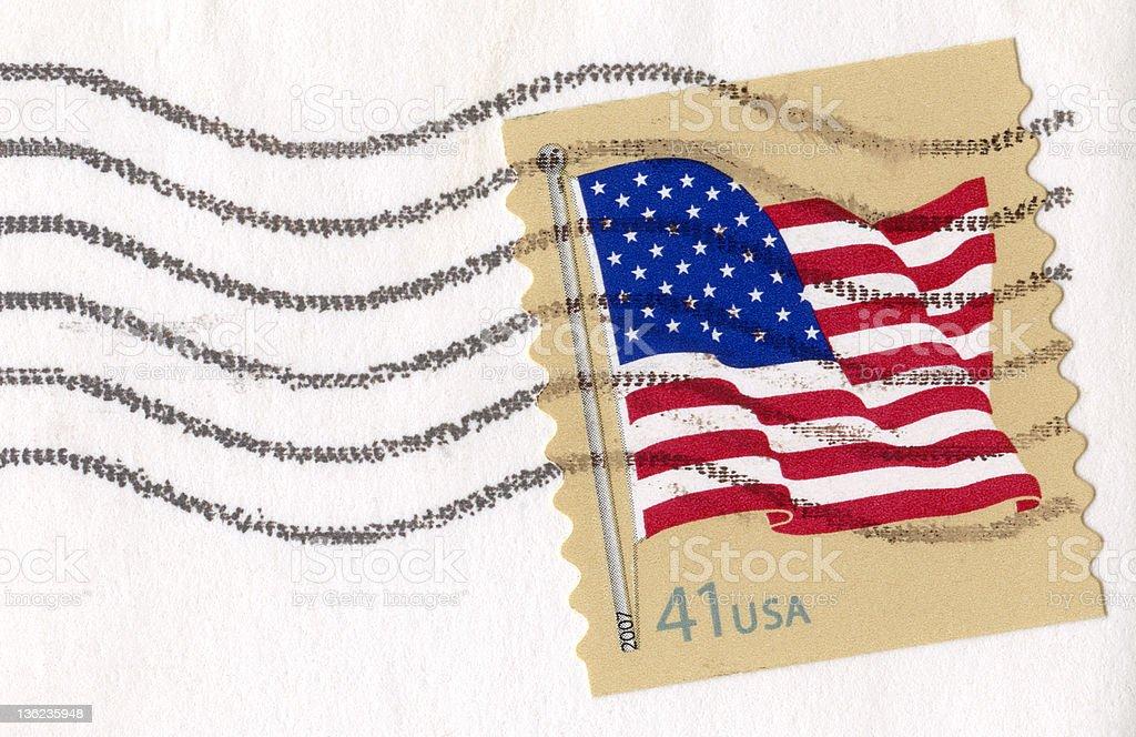 USA Waving Flag Postage Stamp royalty-free stock photo