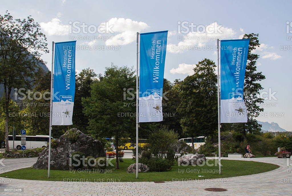 Waving flags in Schoenau at lake Koenigssee, Germany, 2015 stock photo