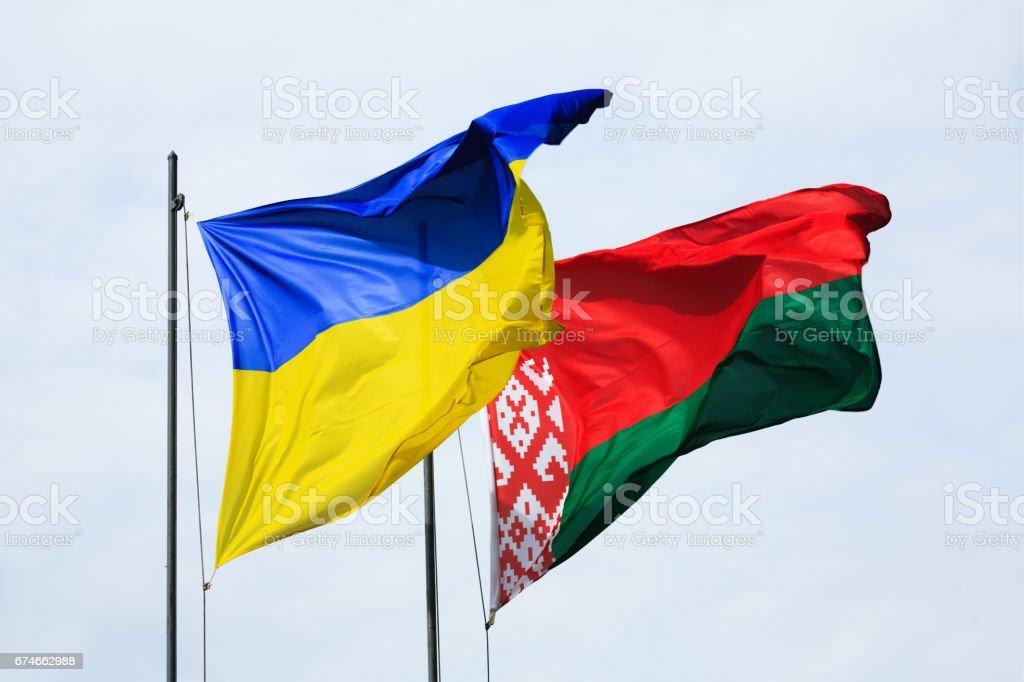 Waving flags of Ukraine and Belarus stock photo