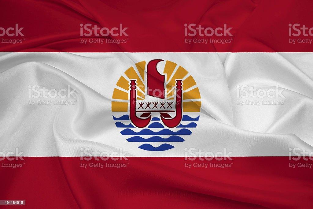 Waving French Polynesia Flag stock photo