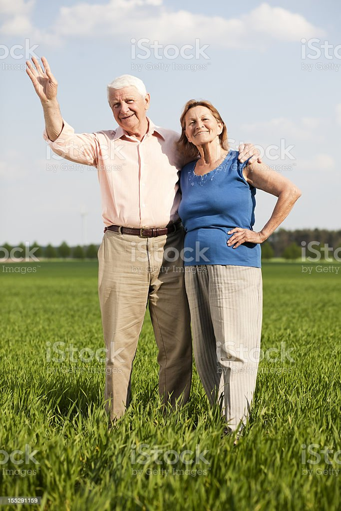 waving grandfather stock photo