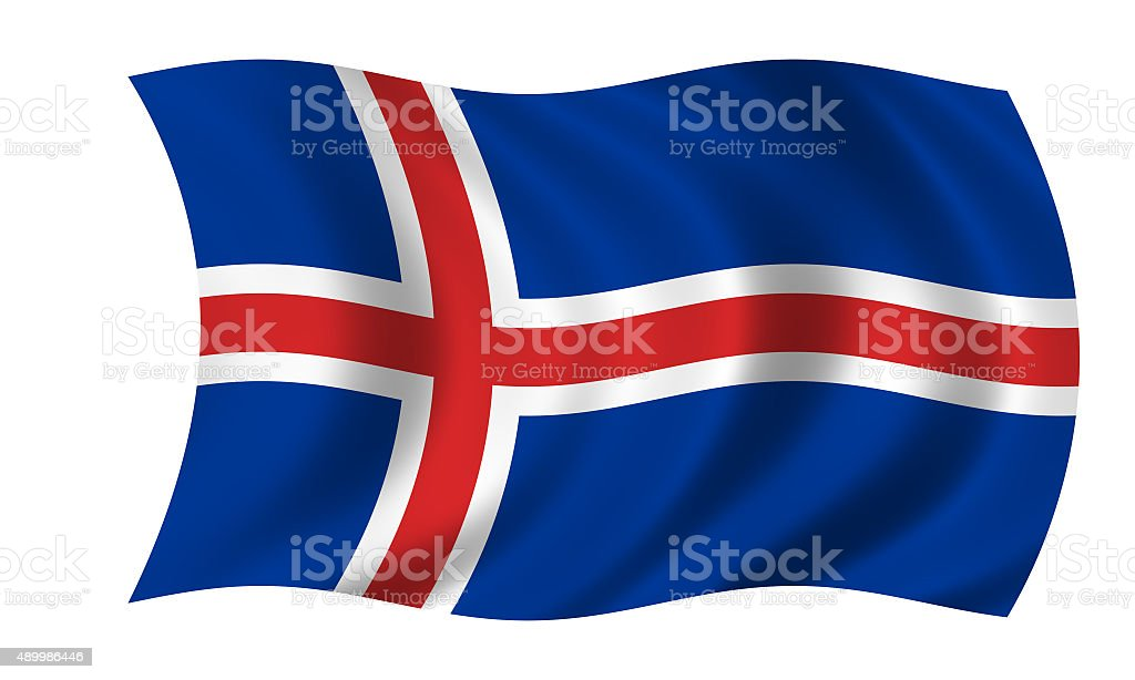 waving icelandic flag stock photo