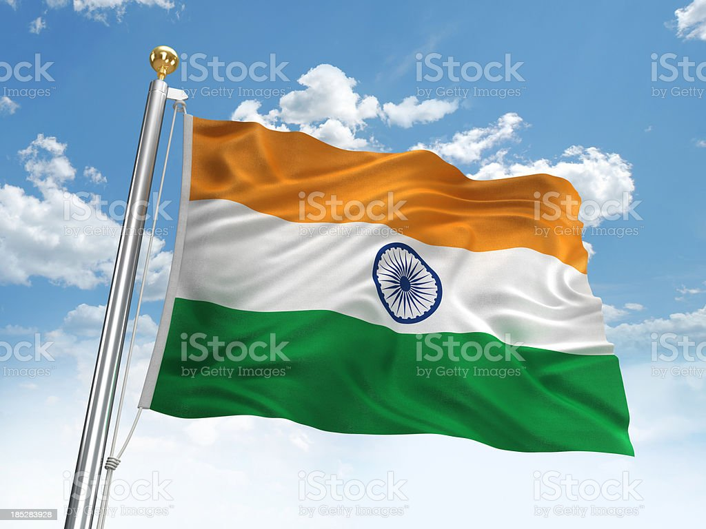 Waving India flag stock photo