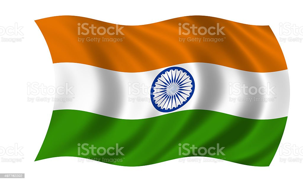 waving indian flag stock photo
