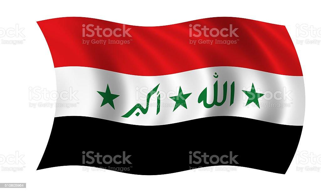 waving iraqi flag in wind stock photo