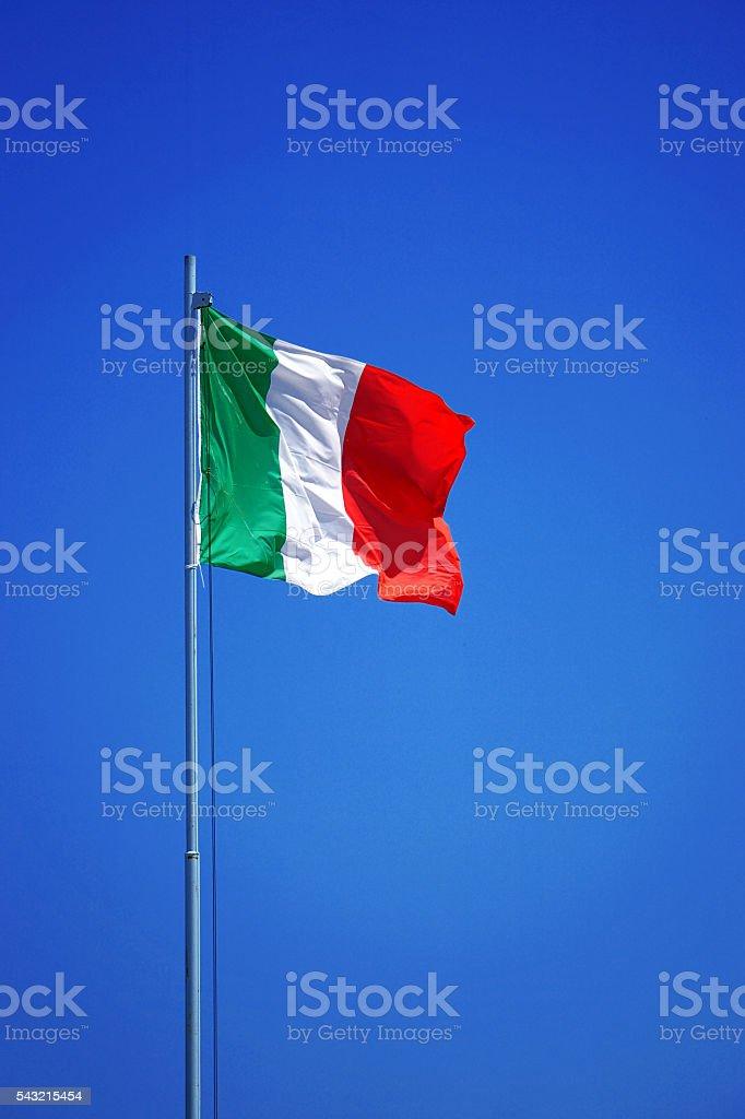Waving Italian flag stock photo