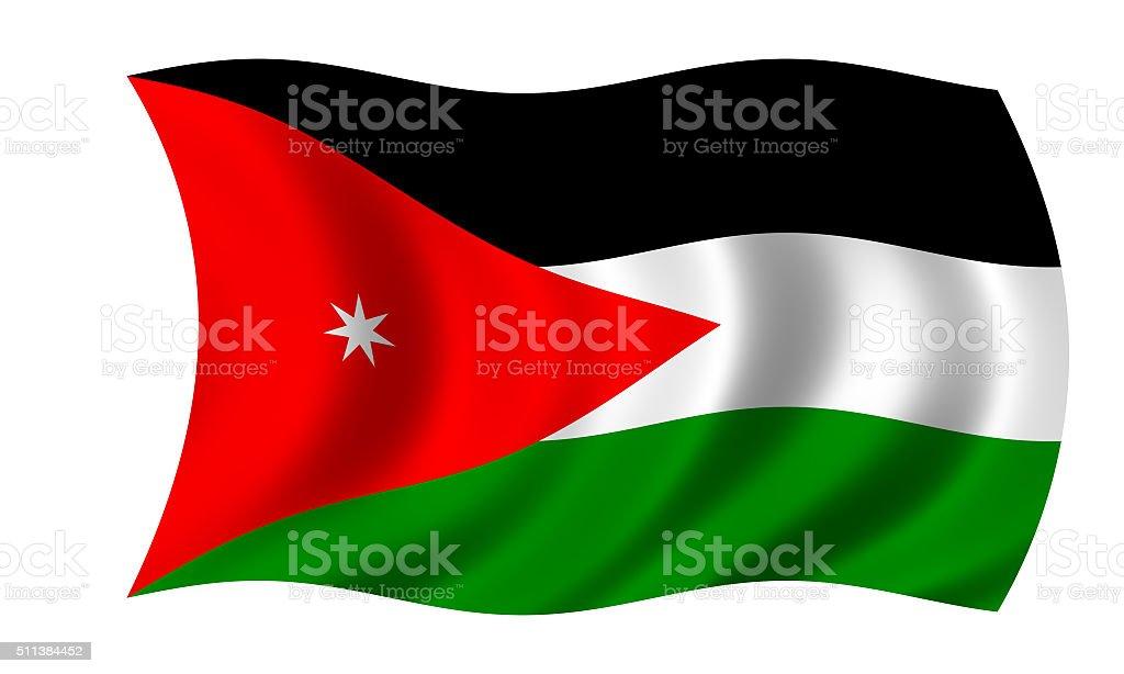 waving jordanian flag in wind stock photo