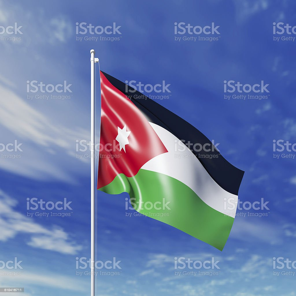Waving  Jordanian flag stock photo