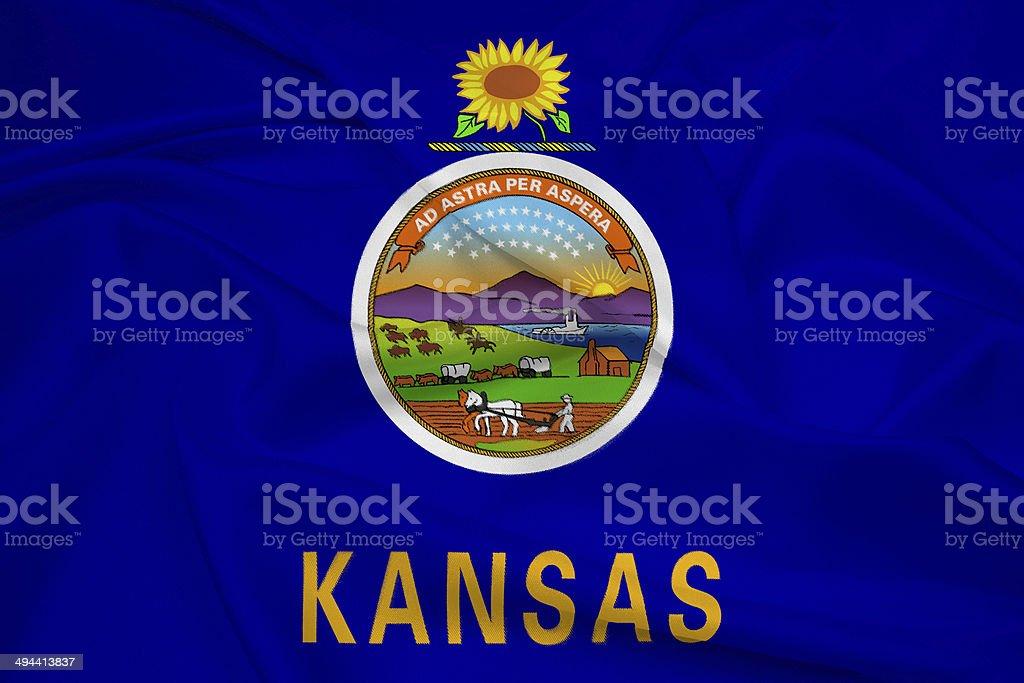 Waving Kansas State Flag stock photo