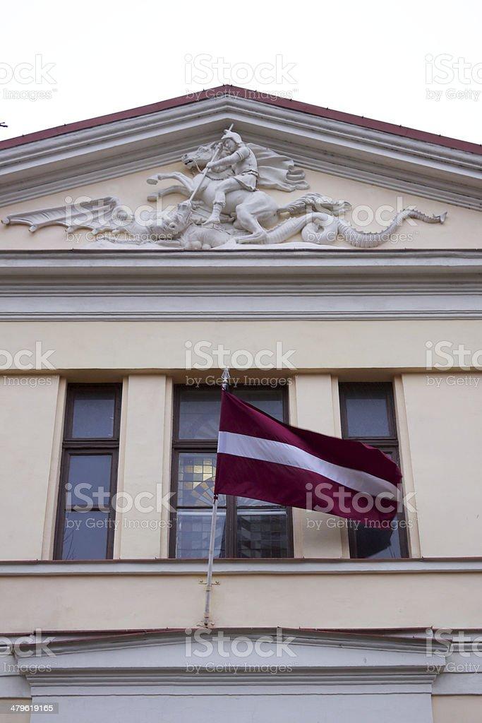 Waving Latvian flag stock photo