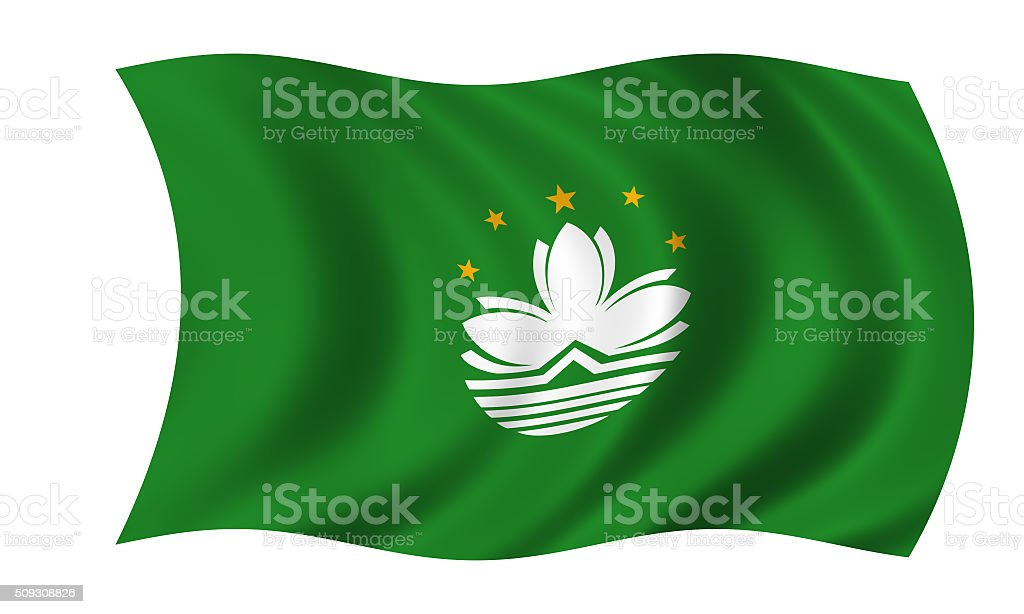 waving macao flag in wind stock photo