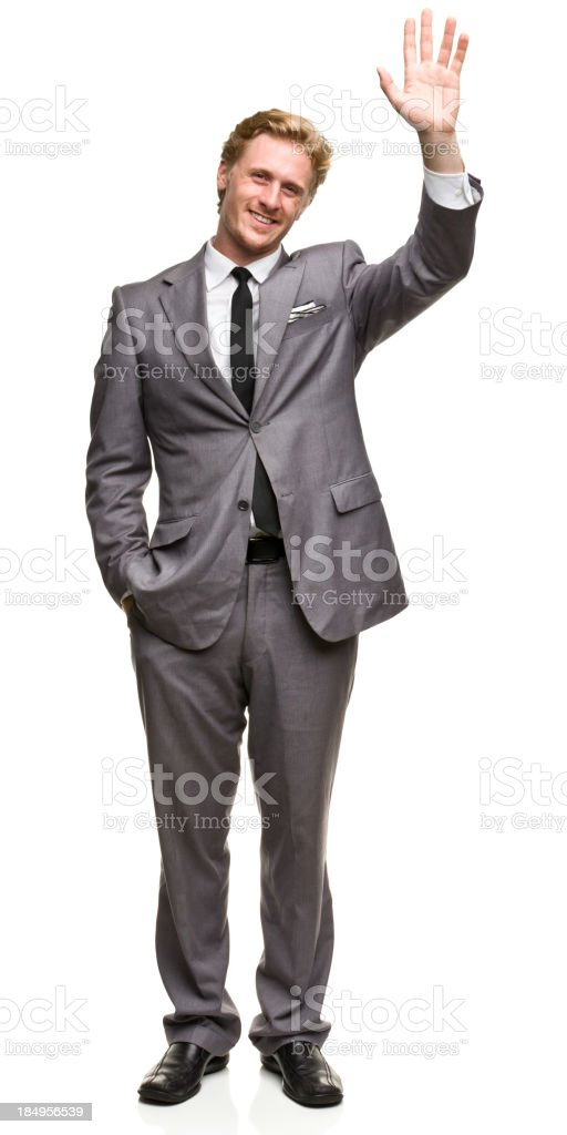Waving Man in Suit stock photo