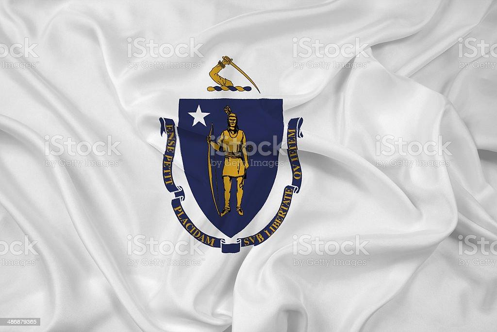 Waving Massachusetts State Flag stock photo