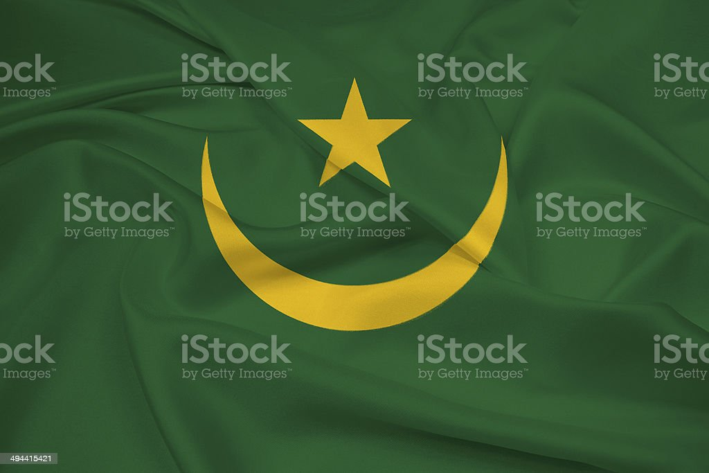 Waving Mauritania Flag stock photo