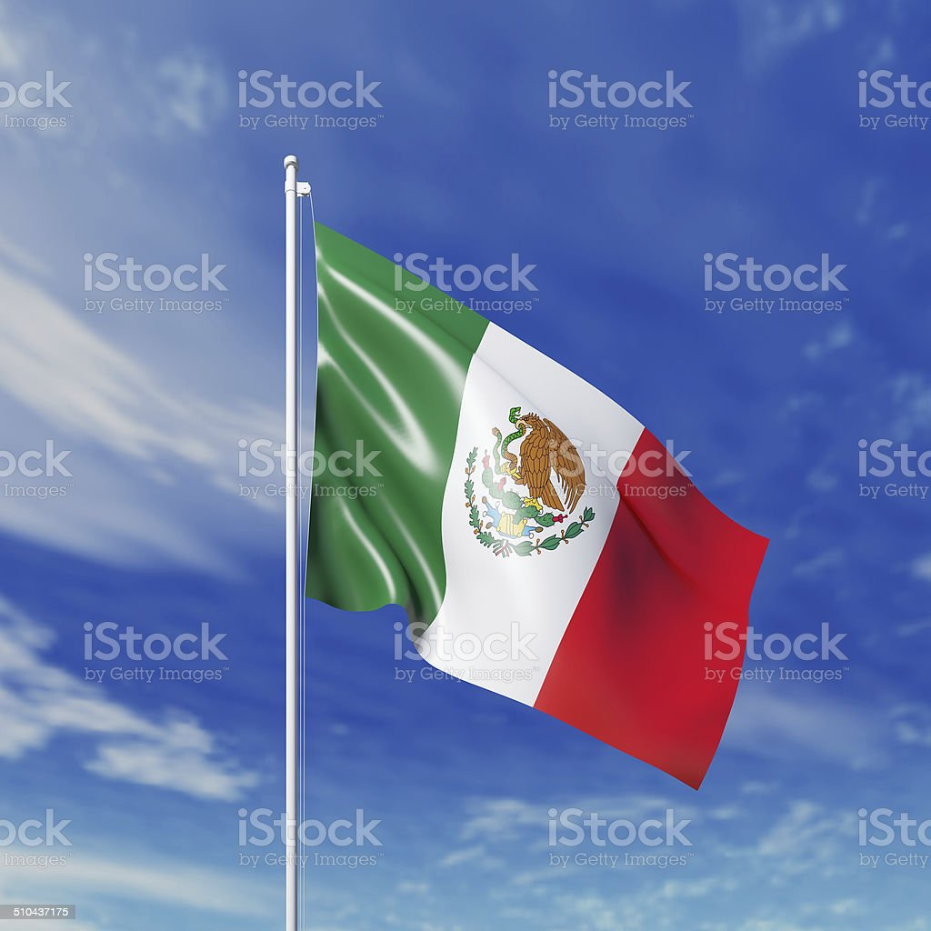 Waving  Mexican flag stock photo