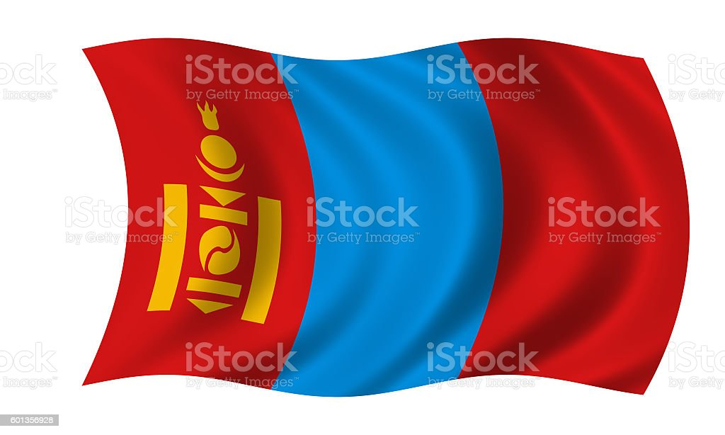 waving mongolian flag in wind stock photo