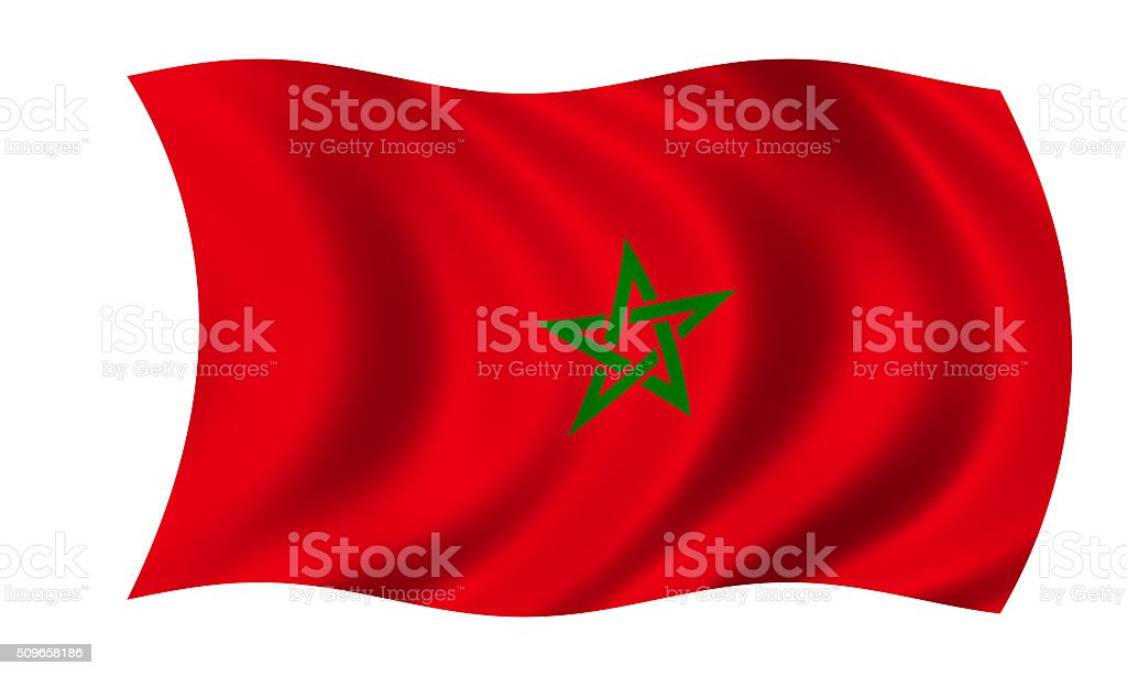 waving moroccan flag in wind stock photo