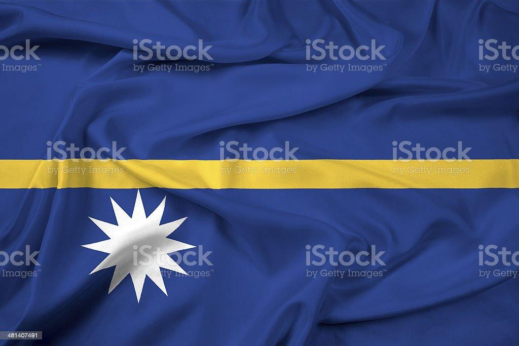 Waving Nauru Flag stock photo