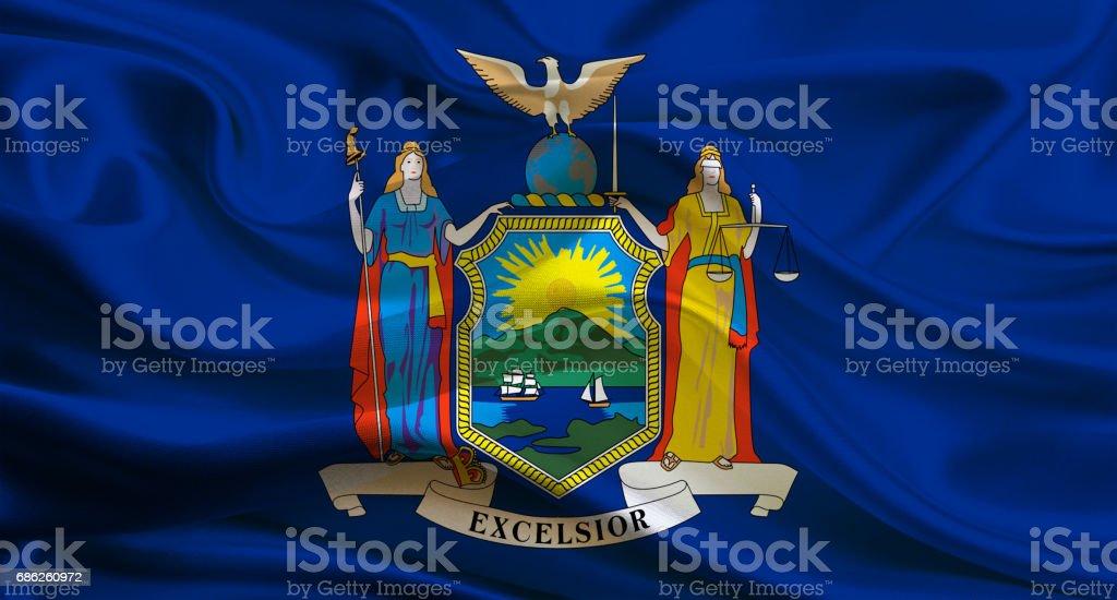 Waving New York State flag stock photo