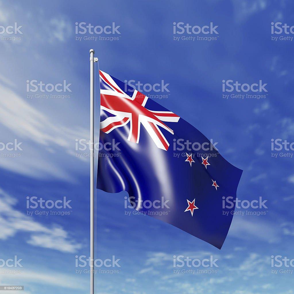 Waving  New Zealand flag stock photo