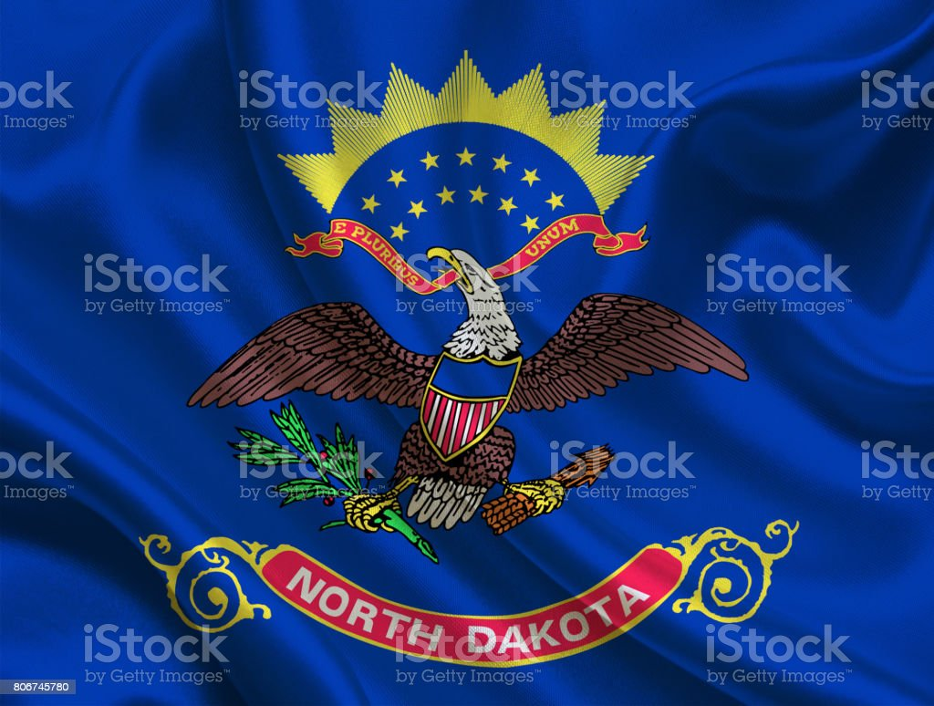 Waving North Dakota State flag stock photo