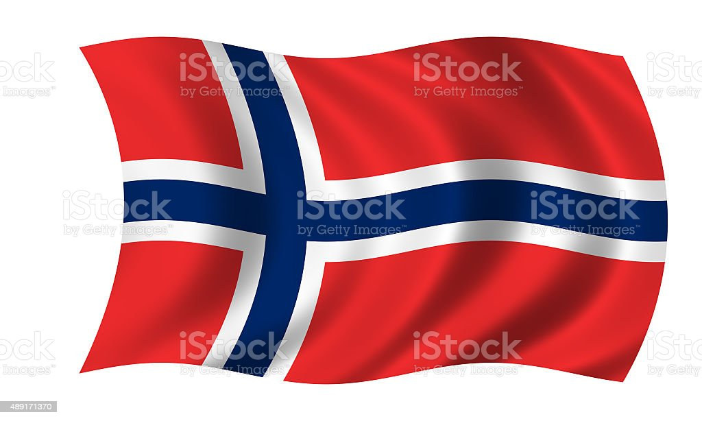waving norwegian flag stock photo