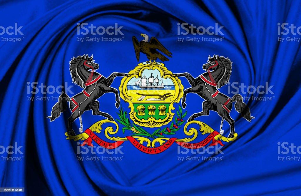 Waving Pennsylvania State flag stock photo
