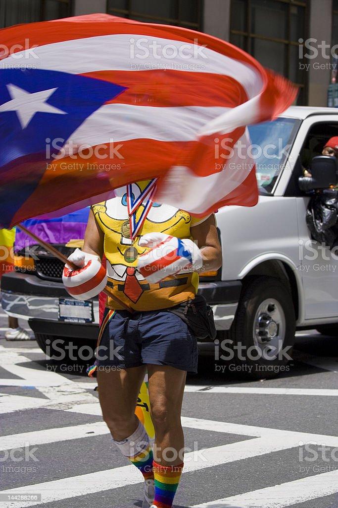 waving Puerto-Rican flag royalty-free stock photo