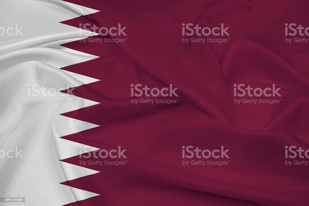 Waving Qatar Flag stock photo