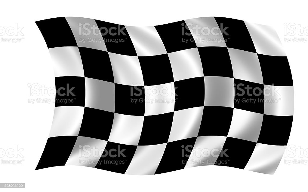 waving racing flag in wind stock photo
