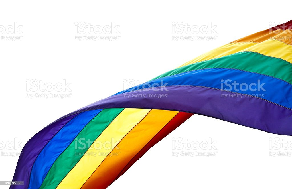 A waving rainbow flag showing support for the LGBT community stock photo