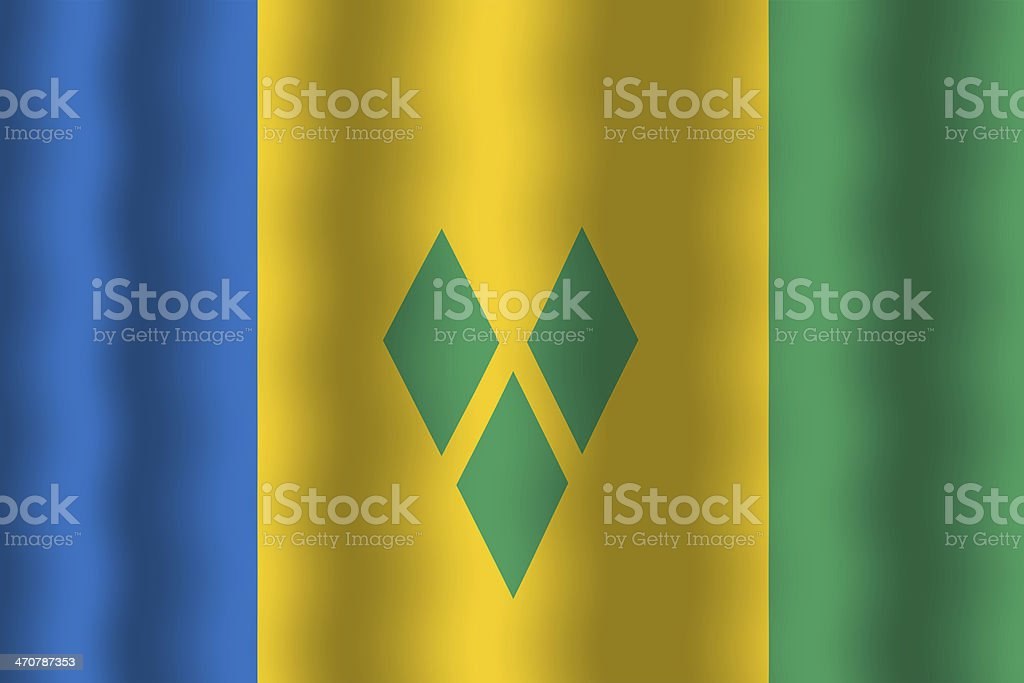 Waving Saint Vincent and The Grenadines Flag stock photo