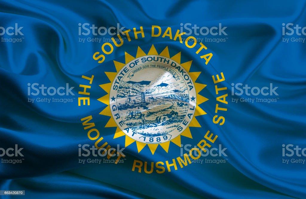 Waving  South Dakota flag stock photo
