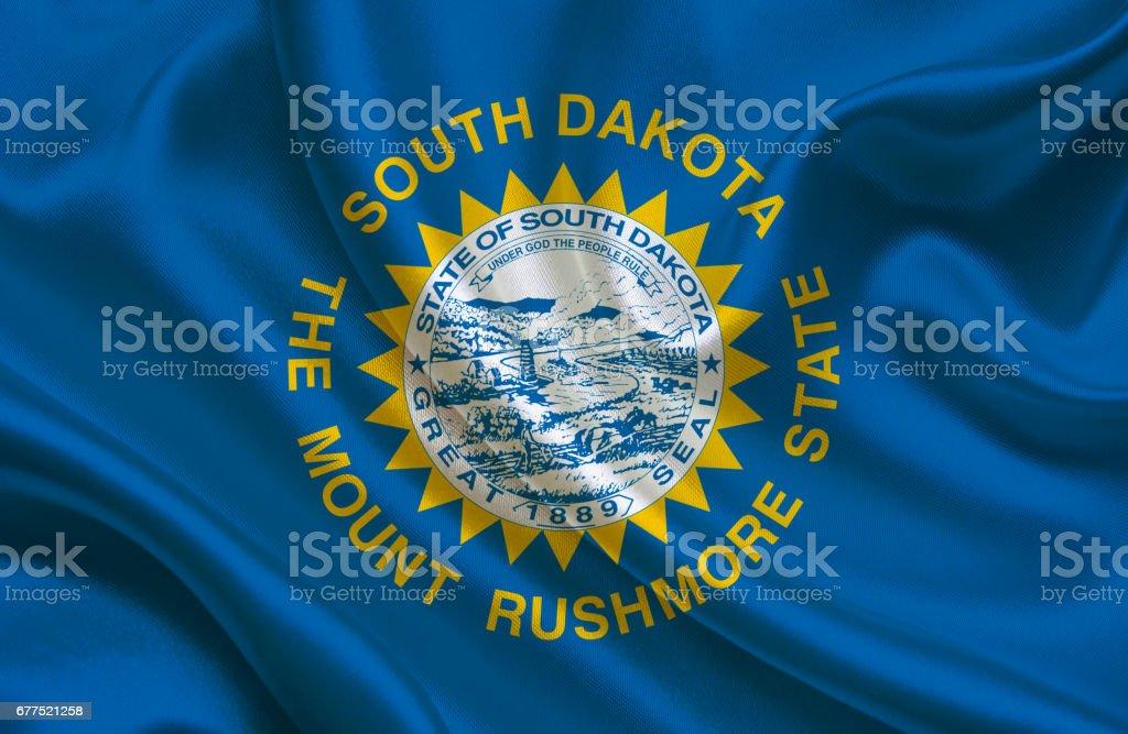 Waving South Dakota State flag stock photo