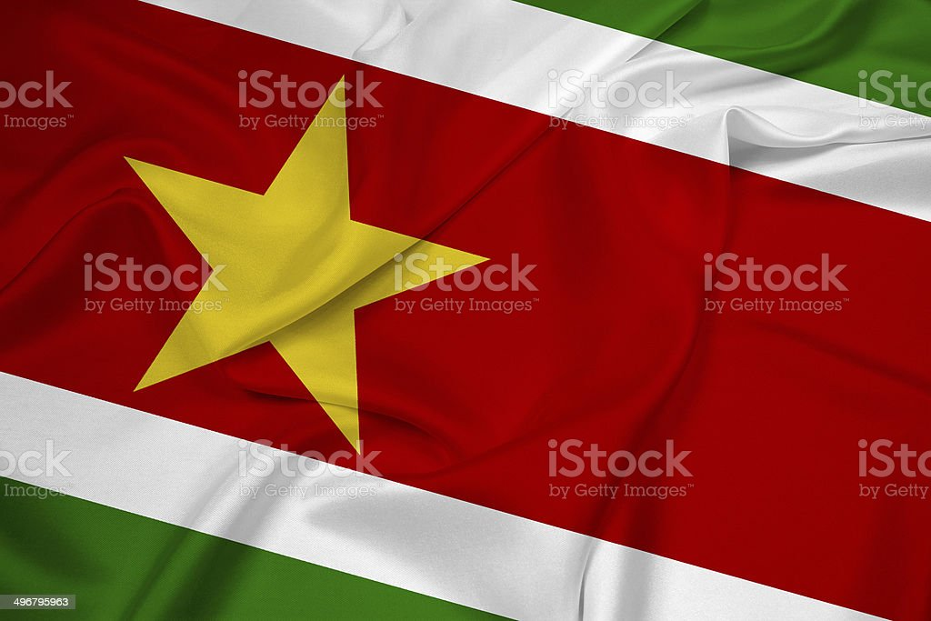 Waving Suriname Flag stock photo
