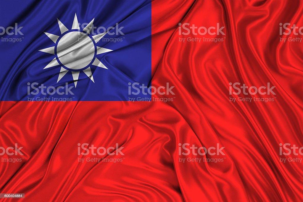Waving Taiwan flag of silk stock photo