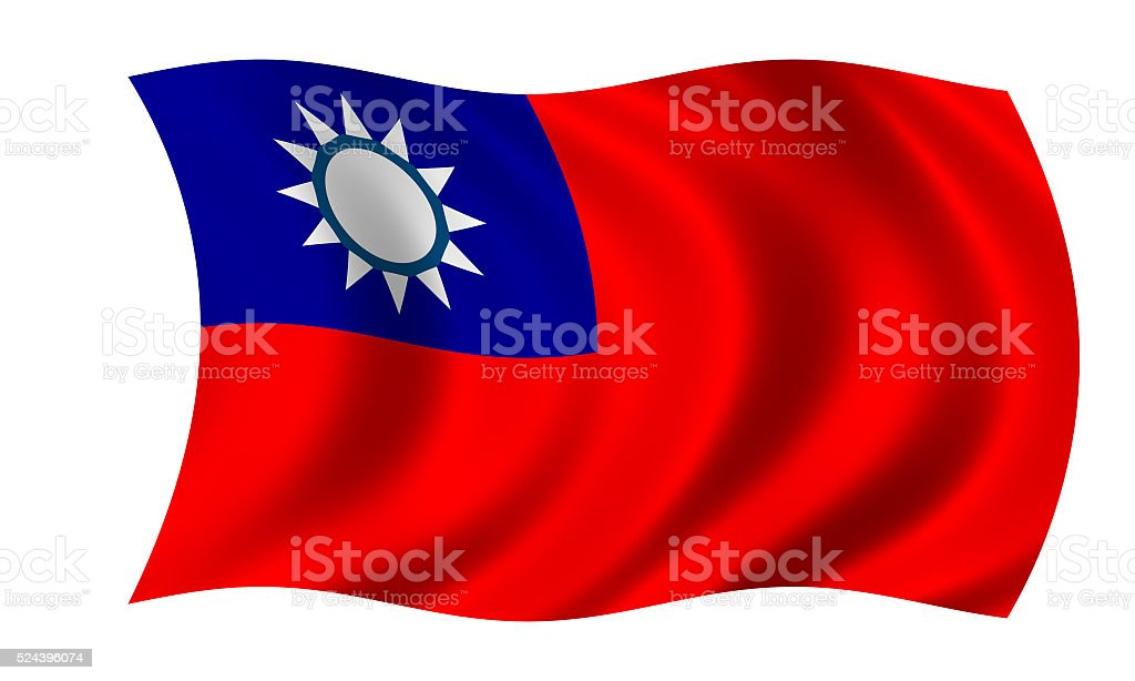 waving taiwanese flag in wind stock photo