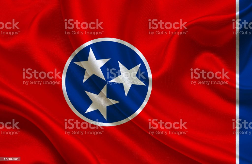 Waving Tennesse State flag stock photo