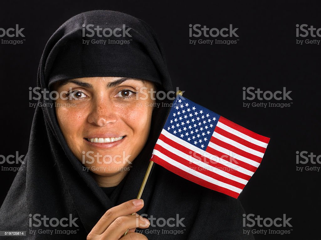 Waving the US flag stock photo