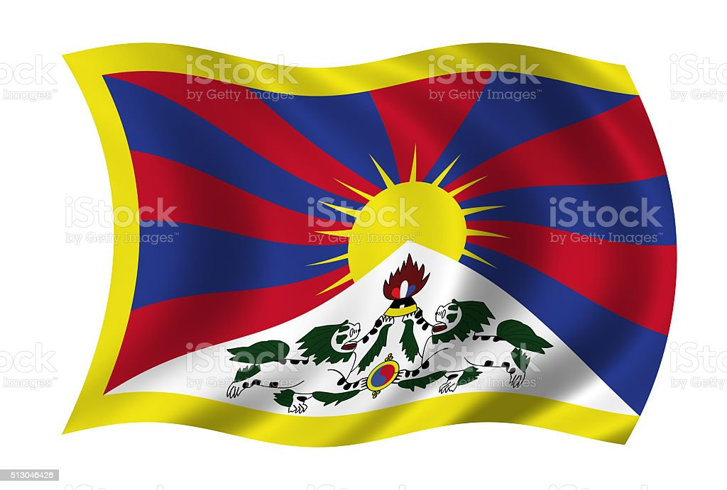 waving tibetan flag in wind stock photo