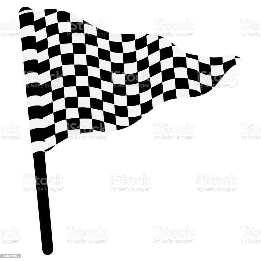 Waving triangular checkered flag stock photo
