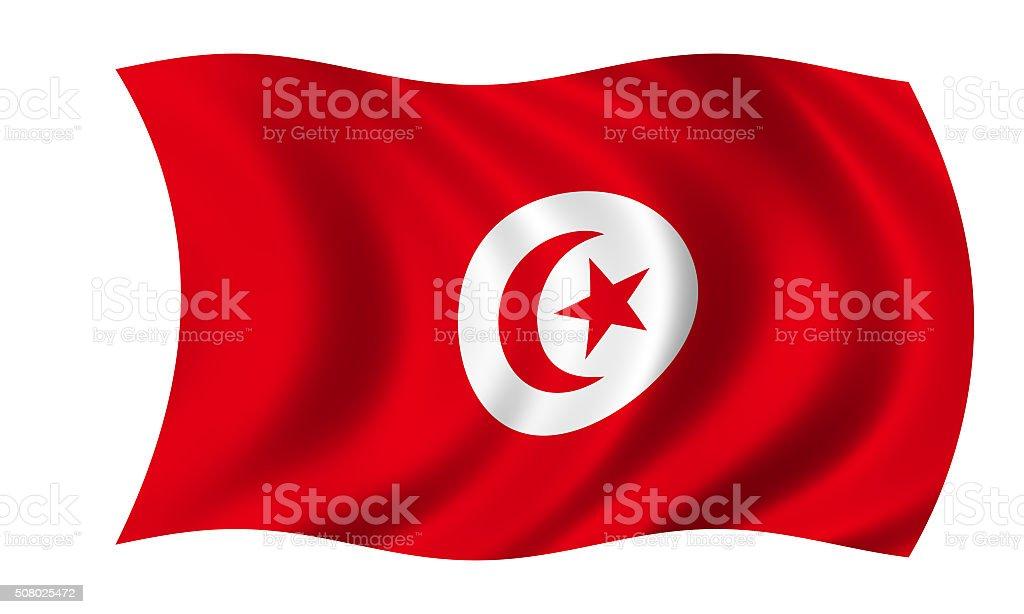 waving tunisian flag in wind stock photo
