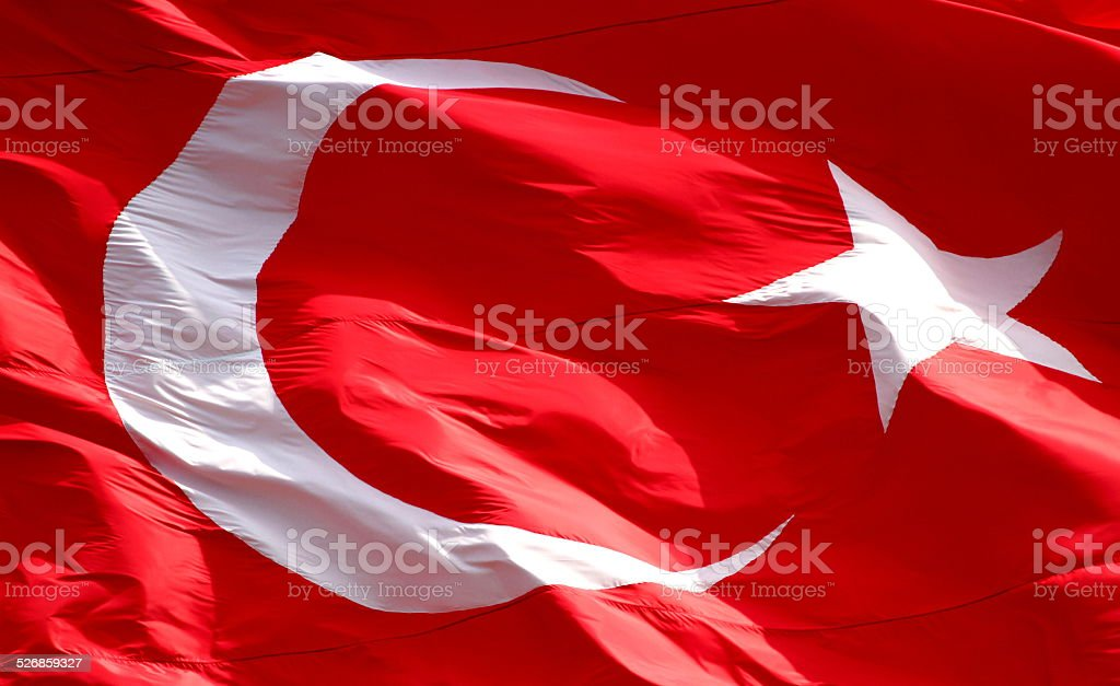 Waving Turkish flag. stock photo