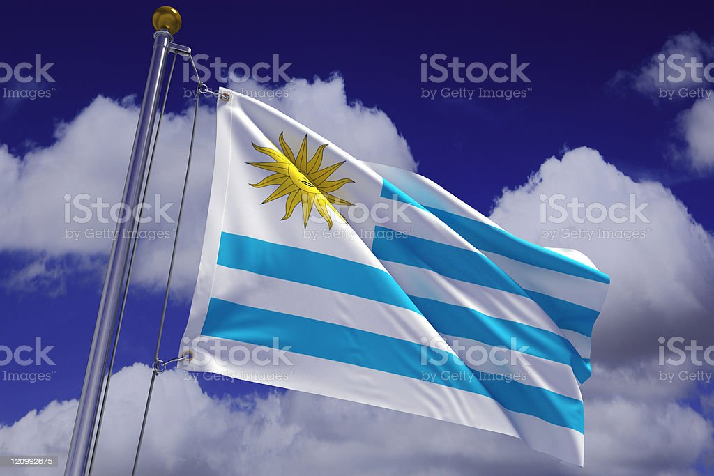 Waving Uruguayan Flag royalty-free stock photo