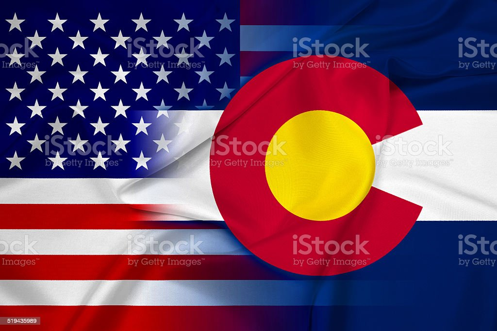 Waving USA and Colorado State Flag stock photo