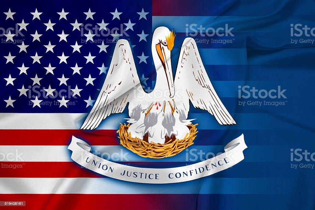 Waving USA and Louisiana State Flag stock photo